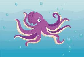 octopus in de oceaan, zeewereldbewoner, schattig onderwaterwezen vector