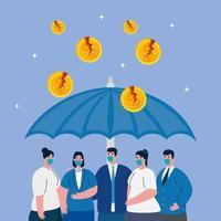 zakenmensen die zichzelf beschermen tegen de ineenstorting van de economie van het coronavirus vector