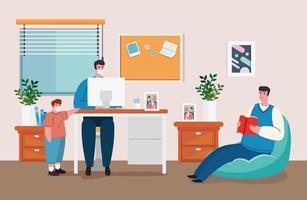 thuiskantoor coronaviruspreventie met man aan het werk met zijn gezin vector