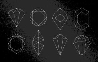 witte hand getrokken kristallen vector set