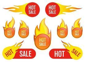 hete verkoop embleem sticker vector ontwerp illustratie set geïsoleerd op een witte achtergrond