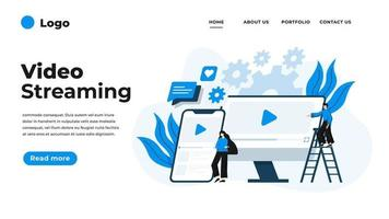 moderne platte ontwerp illustratie van videostreaming.