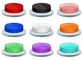 druk op de knop vector illustratie ontwerpset geïsoleerd op een witte achtergrond