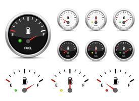 brandstofmeter vector ontwerp illustratie set geïsoleerd op een witte achtergrond