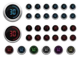 digitale timer vector ontwerp illustratie set geïsoleerd op een witte achtergrond