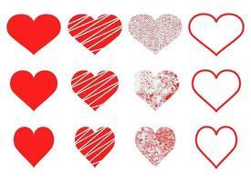 hart vorm vector ontwerp illustratie set geïsoleerd op een witte achtergrond