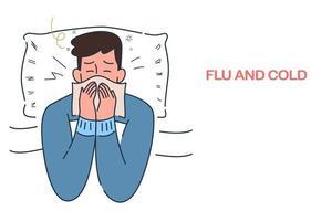zieke man liggend in bed met griep en verkoudheid onder de deken, seizoensgebonden allergie-infecties, hand getrokken stijl vectorillustratie.