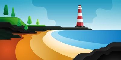 vuurtoren strandlandschap. zee achtergrond. vector illustratie