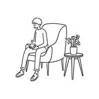 een jonge man met hete koffie zit in de woonkamer. handgetekende stijl vector illustratie.