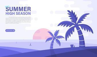 zomer hoogseizoen. zee en strand achtergrond. webdesign elemant. vector illustratie