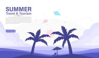 zomerreizen en toerisme. zee en strand achtergrond. webdesign elemant. vector illustratie
