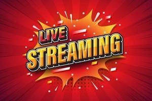 live streaming, lettertype-uitdrukking popart komische tekstballon. vector illustratie