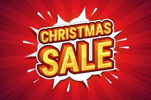 kerst verkoop lettertype expressie popart komische tekstballon. vector illustratie