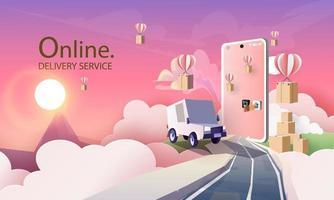 papier kunst koerier bestelwagen cartoon in de stad bezorgservice, en online winkelen vector kunst en illustratie.