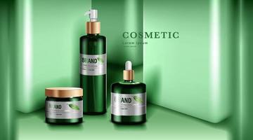 cosmetica of huidverzorgingsproducten. groene fles mockup en groene muur achtergrond. vector illustratie.