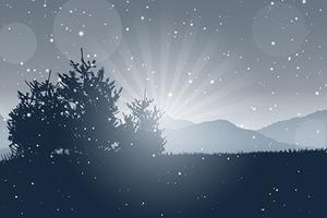 Kerstboom landschap vector
