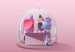 jonge vrouw die thuis blijft. eten bereiden en koken omringd door veel keukengerei. miniatuur huis. blijf thuis en blijf veilig met sociale afstand. quarantaine concept covid-19 vector