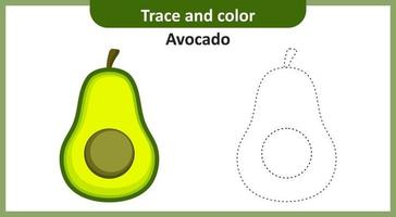 traceer en kleur avocado vector