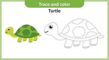 trace en kleur schildpad vector
