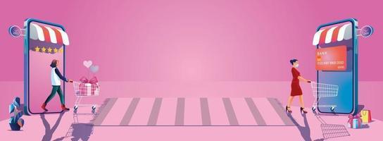 jonge vrouwen nemen een winkelwagentje en genieten van online winkelen via smartphones, kiezen ervoor om geschenken te kopen Valentijnsdag concepten website of mobiele telefoontoepassing, platte ontwerp illustratie vector