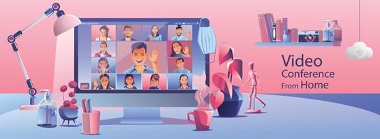 landing van videoconferentie. mensen op computerscherm nemen met collega's. videoconferenties en online vergadering werkruimte vector pagina man en vrouw. self-quarantine om covid -19 vector te voorkomen