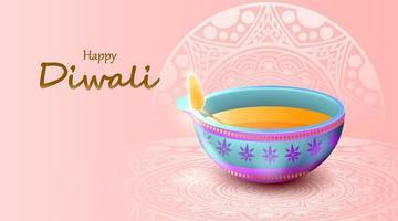 gelukkig diwali-festival met olielamp, diwali-viering wenskaart, vector