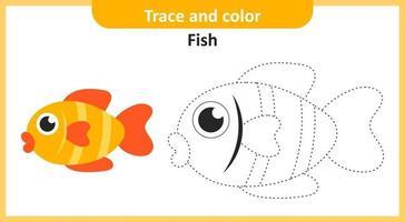 traceer en kleur vis vector