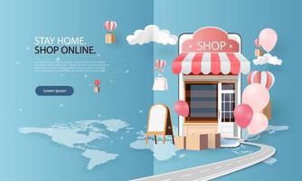 papierkunst online winkelen op smartphone en nieuwe koopverkooppromotie roze achtergrondgeluid voor e-commerce op de bannermarkt. vector