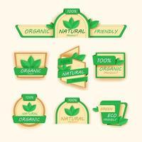 gezonde voeding pictogrammen of etiketten, biologische labels, natuurlijke productelementen, logo vegetarisch menu, veganistisch embleem, vers natuurproduct, vectorillustratie