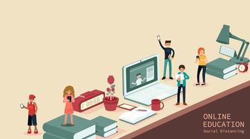 jonge mannen en vrouwen met smartphones en sms'en, praten, studentenstudie op de computer, online examen, vragenlijst op internet, online onderwijs, vectorillustratie