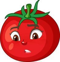 tomaat stripfiguur met teleurgestelde gezichtsuitdrukking op witte achtergrond vector