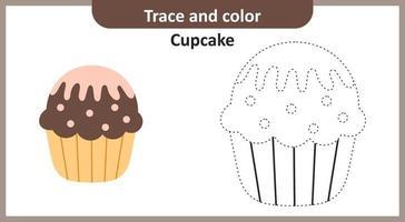 traceer en kleur cupcake vector