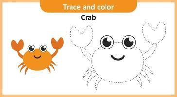 trace en kleur krab vector