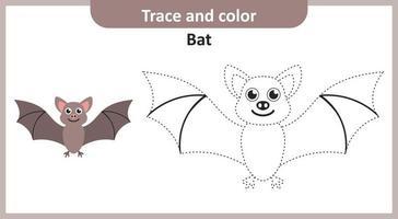 trace en kleur vleermuis vector