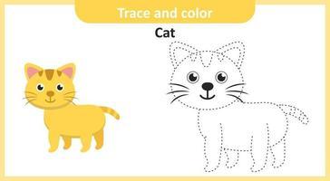 trace en kleur cat vector