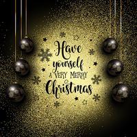 Glittery Kerstmis achtergrond met hangende snuisterijen