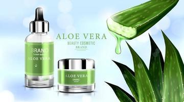 luxe cosmetische fles pakket huidverzorgingscrème, aloë vera crème en spray met opspattende vloeistof door bladeren op bokeh glitter achtergrond, vectorillustratie