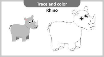 trace en kleur neushoorn vector