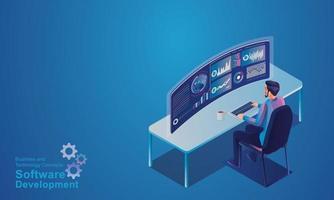 data-analyse en statistieken concept. isometrische programmeur die werkt in een softwareontwikkelingsbedrijf kantoor creatieve leveranciers op virtuele computerschermen voor marketingoplossingen platte ontwerp vector