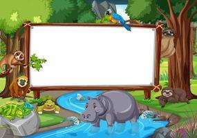 lege banner in de regenwoudscène met wilde dieren vector