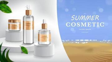 reclame voor zonnebrandcrème en -spray. cosmetische buis en realistische fles op strand en zee. branding en verpakking ontwerpsjabloon. vector illustratie