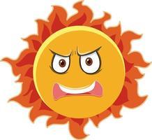 zon stripfiguur met een boze gezichtsuitdrukking op een witte achtergrond
