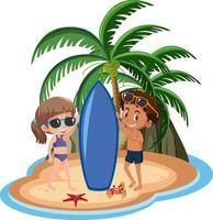 jongen en meisje op het eiland vector