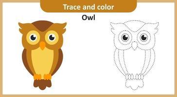 trace en kleur uil vector
