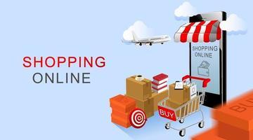 online winkelen, smartphone en kar met producten met blauwe achtergrond vector