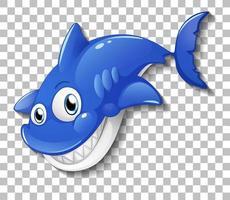 lachende schattige haai stripfiguur geïsoleerd op transparante achtergrond vector