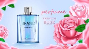 luxe cosmetische fles pakket huidverzorgingscrème, schoonheidsschoonheidsproductposter, met roze roos en blauwe kleur achtergrond