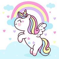 schattige eenhoorn pegasus vector vliegen op pastel hemel met zoete regenboog en wolk. pony cartoon kawaii dieren achtergrond voor Valentijnsdag geschenk