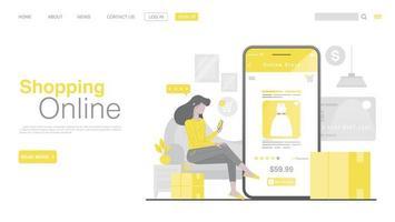 online winkelen en online betalen op website of mobiele applicatie. bestemmingspagina voor online betalingen in vlakke stijl. kleur van het jaar 2021.
