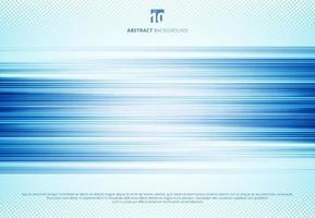 abstracte blauwe horizontale lijnen motion blur achtergrondtechnologiestijl met halftoon. snelheid sport beweging. vector